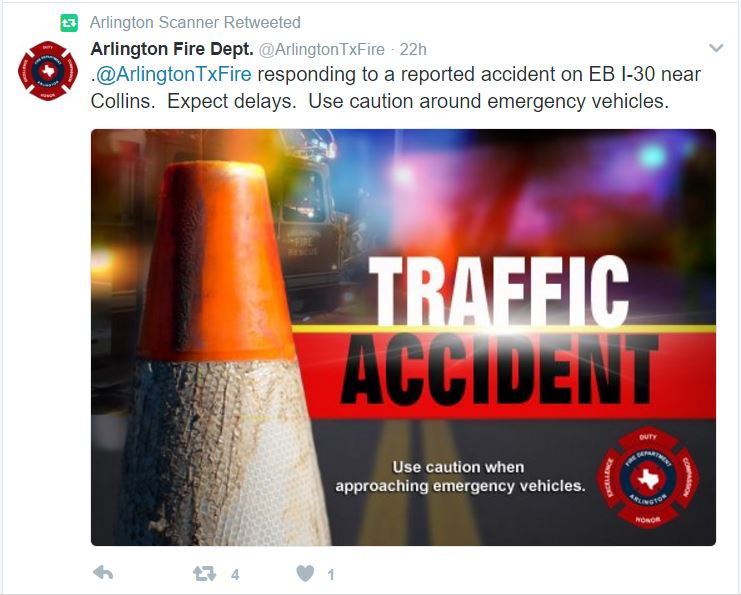 Arlington Car Accident Reported by Arlington Scanner